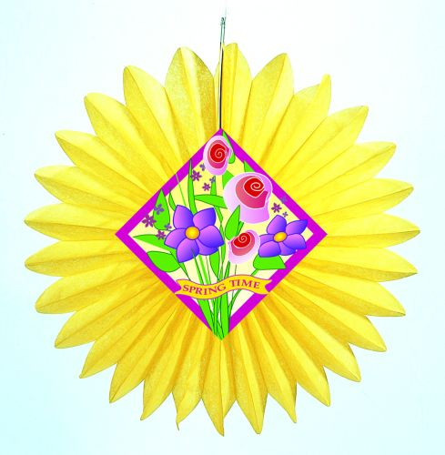 Yellow Spring Flowers Fan w/ Diecut - Product #5424-0