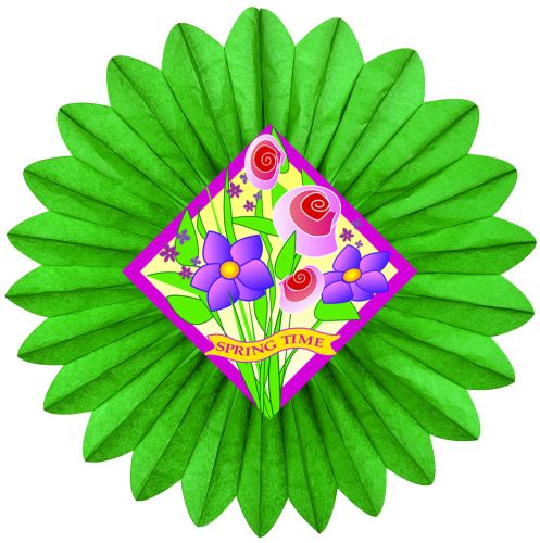 Green Spring Flowers Fan w/ Diecut - Product #5424-3