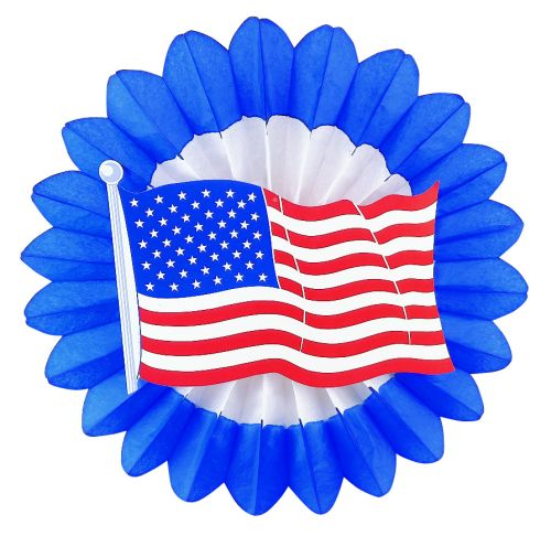 Red/White/Blue Fan w/ American Flag Diecut - Product #5441-1