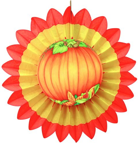 Yellow/Orange Fan w/ Pumpkin Diecut - Product #5442-3