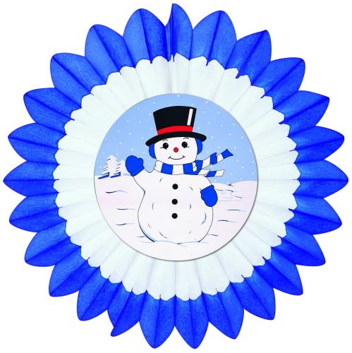 Light Blue/White/Dark Blue Fan w/ Snowman Diecut - Product #5447