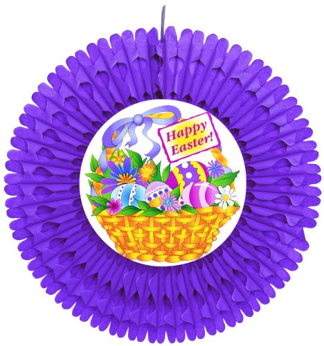 Purple Fan w/ Easter Basket Diecut - Product #5452-9