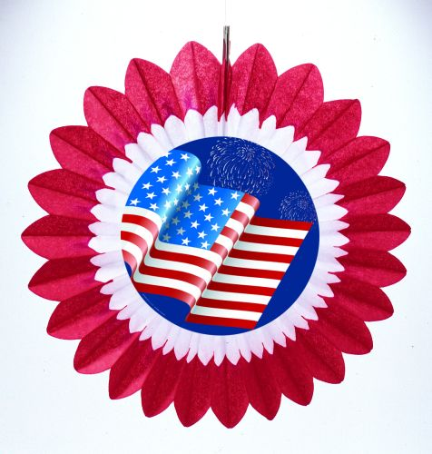Red/White Fan w/ Wavy Flag Diecut - Product #5467-6
