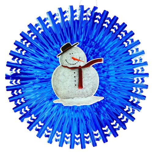 Blue Metallic Fan w/ Snowman Diecut - Product #5700-0